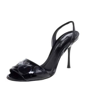 Dolce & Gabbana Black Patent Leather Slingback Sandals Size 38