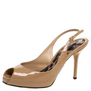 Dolce and Gabbana Beige Patent Leather Slingback Sandals Size 35.5
