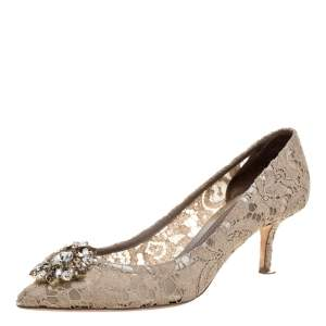 Dolce and Gabbana Beige Brocade Lace Bellucci Crystal Embellished Pointed Toe Pumps Size 40.5