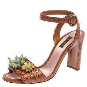 Dolce & Gabbana Brown Lizard Embossed Leather Embellished Ankle Strap Sandals Size 38.5