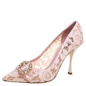 Dolce & Gabbana Blush Pink Lace Crystal Embellished Pointed Toe Pumps Size 39