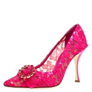 Dolce & Gabbana Pink Lace Crystal Embellished Decollete Pointed Toe Pumps Size 37