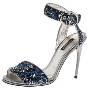 Dolce & Gabbana Blue Sequin And Metallic Grey Leather Trim Ankle Wrap Sandals Size 37.5