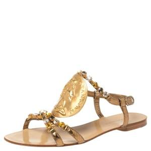 Dolce & Gabbana Metallic Gold Python Embossed Leather Embellished Ayers Flat Sandals Size 38