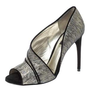 Dolce & Gabbana Metallic Multicolor Fabric Piping Detail Peep Toe D'orsay Pumps Size 37.5