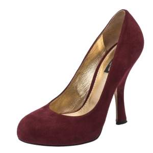 Dolce & Gabbana Burgundy Suede Leather Platform Round Toe Pumps Size 37