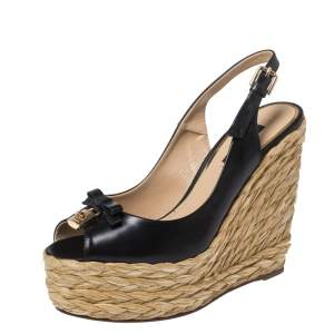 Dolce & Gabbana Black Leather And Raffia Lock and Bow Wedge Slingback Sandals Size 38