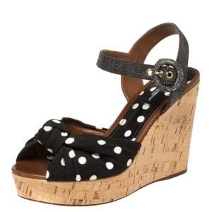Dolce & Gabbana Black Polka Dot Fabric and Raffia Knot Cork Wedge Sandals Size 37