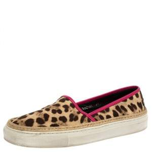 Dolce And Gabbana Brown/Beige Leopard Print Canvas Espadrille Slip On Sneakers Size 38