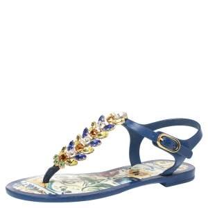 Dolce & Gabbana Blue Rubber Jewel Embellished Thong Flat Sandals Size 35