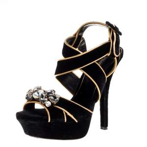 Dolce & Gabbana Black Velvet Metallic Gold Leather Trim Crystal Embellished Cross Strap Platform Sandals Size 37