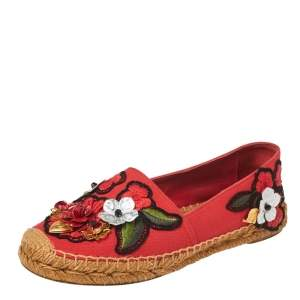 Dolce & Gabbana Red Canvas Locket Flower and Jewel Embroidered Espadrille Flats Size 36