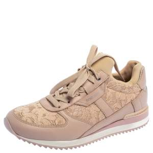 Dolce & Gabbana Pink Lace and Leather Low Top Sneakers Size 37.5