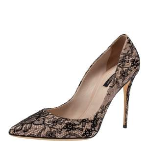 Dolce & Gabbana Black/Beige Floral Lace and Leather Pointed Toe Pumps Size 40