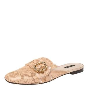 Dolce & Gabbana Peach Lace and Mesh Crystal Embellished Mules Size 41