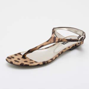 Dolce & Gabbana Leopard Thong Sandals Size 36