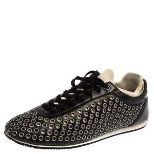 Dolce & Gabbana Black/White Leather Eyelet Lace Low Top Sneakers Size 44