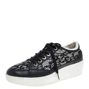 Dolce & Gabbana Black Leather/Lace, and Fabric Wedge Sneakers Size 38.5