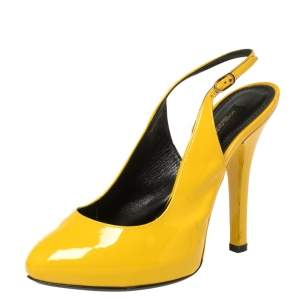 Dolce & Gabbana Yellow Patent Leather Sling Back Pumps Size 36.5