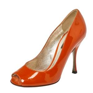 Dolce & Gabbana Burnt Orange Patent Leather Peep Toe Pumps Size 36