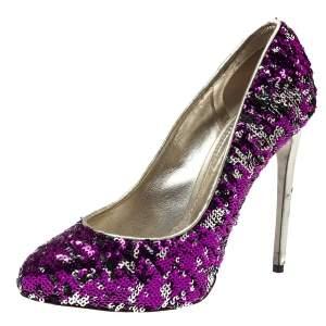 Dolce & Gabbana Metallic Two Tone Sequins Embellished Platform Pumps Size 38