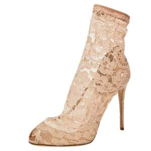 Dolce & Gabbana Pink Lace Peep Toe Ankle Booties Size 36