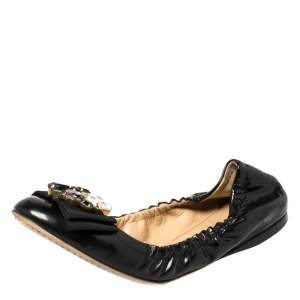 Dolce and Gabbana Black Patent Leather Crystal Embellished Bow Scrunch Ballet Flats Size 39