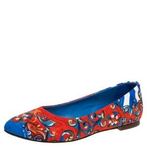 Dolce & Gabbana Multicolor Fabric Printed Ballet Flats Size 36