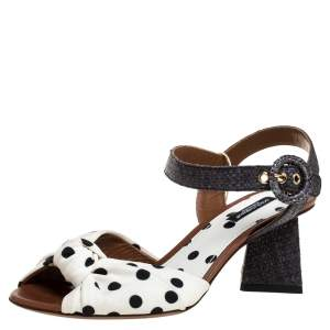 Dolce & Gabbana White/Grey Raffia And Polka Dot Fabric Knotted Ankle Strap Sandals Size 37.5