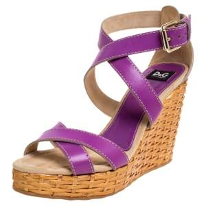 Dolce & Gabbana Purple Leather Ankle Strap Raffia Wedge Sandals Size 37