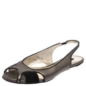 Dolce & Gabbana Metallic Suede And Leather Slingback Flats Size 37.5