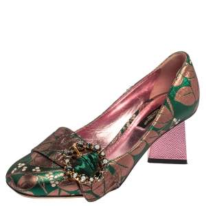 Dolce & Gabbana Green/Pink Brocade Fabric Embellished Block Heel Pumps Size 36