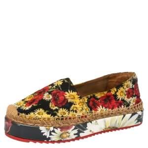 Dolce & Gabbana Red Floral Printed Canvas Platform Espadrilles Size 37