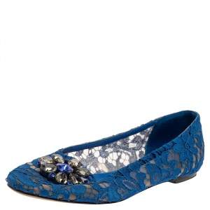 Dolce & Gabbana Blue Lace Crystal Embellished Taormina Ballet Flats Size 38.5