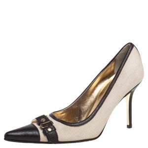 Dolce & Gabbana Vintage Beige/Brown Canvas And Leather Logo Embellished Cap Toe Pumps Size 38