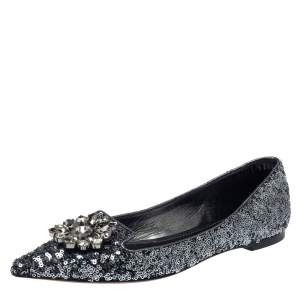 Dolce & Gabbana Metallic Teal Green Sequin Bellucci Pointed Toe Flats Size 37.5
