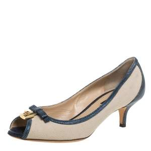 Dolce & Gabbana Beige /Blue Canvas And Lizard Embossed Leather Pumps Size 36