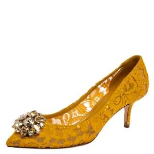 Dolce & Gabbana Yellow Lace Bellucci Pumps Size 40