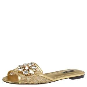 Dolce and Gabbana Gold Lace And Leather Crystal Embellished Bianca Flat Slides Size 38.5