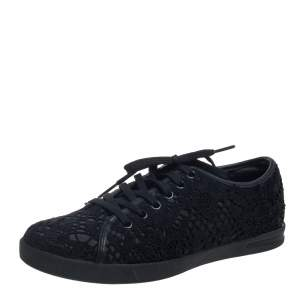Dolce & Gabbana Black Lace Low Top Sneakers Size 36
