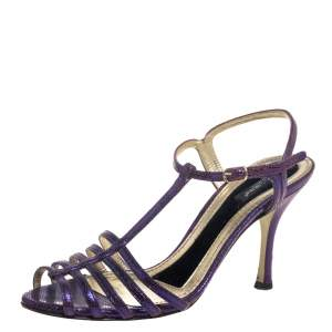 Dolce & Gabbana Purple Lizard Embossed Leather T Strap Sandals Size 36