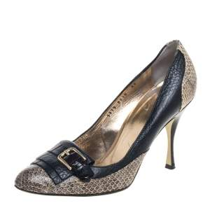 Dolce & Gabbana Gray/Black Python And Leather  Pumps Size 39