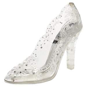 Dolce & Gabbana Silver PVC Crystal Embellishment Cinderella Pumps Size 37.5