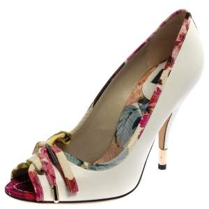 Dolce & Gabbana White Leather And Multicolor Floral Printed Canvas Bow Peep Toe Pumps Size 37