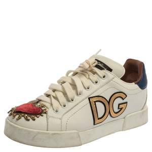 Dolce & Gabbana White Leather Portofino Sacred Heart Sneakers Size 37