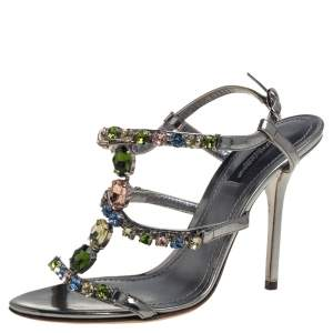 Dolce & Gabbana Grey Metallic Patent Leather Crystal Embellishment T Strap Sandals Size 37