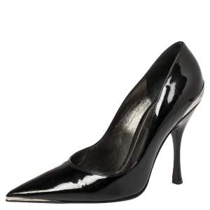 Dolce & Gabbana Black Patent Leather Pointed Toe Slip On Pumps Size 36