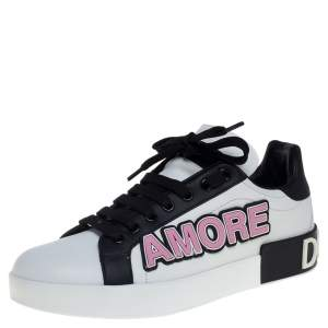 Dolce & Gabbana White/Black Leather Portofino Love Patch Low Top Sneakers Size 38.5