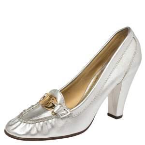 Dolce & Gabbana Metallic Silver Leather Logo Embellished Loafer Pumps Size 40