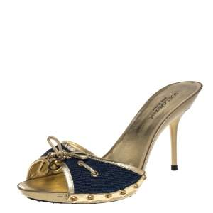 Dolce & Gabbana Blue Denim And Gold Leather Logo Embellished Mule Sandals Size 41